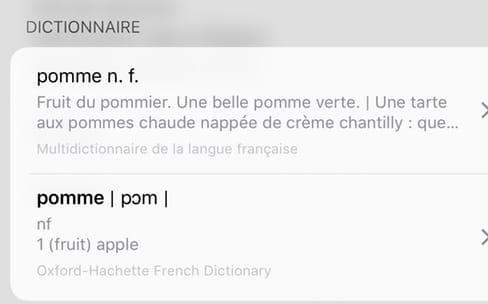 iOS 10 : les définitions de mots proposent aussi des suggestions de recherche