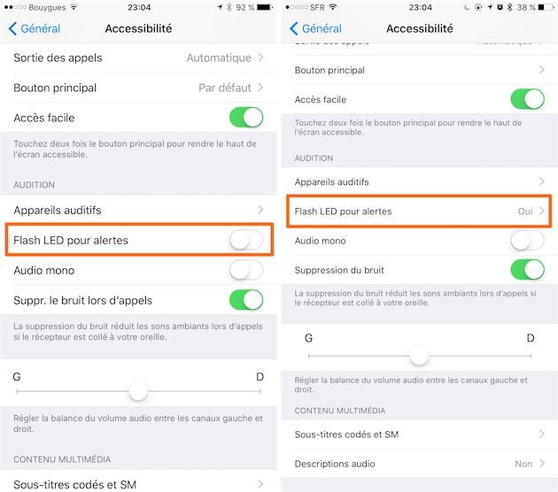 Avec iOS9 (gauche), il n'y avait qu'une seule option. Avec iOS10 (droite), on a un écran dédié avec une option supplémentaire.