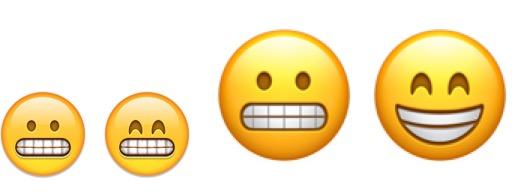 Avant (gauche) et après (droite): les deux emojis sont désormais bien différenciés.