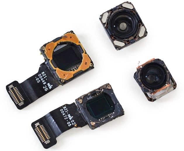 Deux appareils photos complets: objectifs et capteurs. En haut, le grand angle, en bas, le téléobjectif.