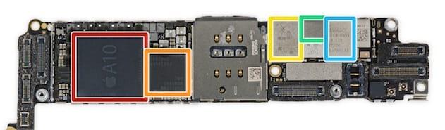 Les composants habituels sont toujours là: le système sur puce A10 Fusion (rouge), puis le modem (orange), l'emplacement pour carte SIM et trois autres composants indispensables au bon fonctionnement de l'ensemble. Cliquer pour agrandir