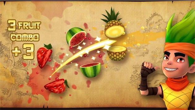 Si vous ne connaissez pas le principe du jeu, c'est un petit peu compliqué, mais essayons: des fruits apparaissent à l'écran, vous devez les trancher avec les doigts tout en évitant des bombes et autres pièges.