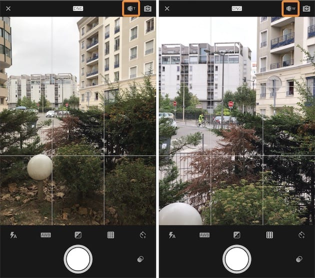 Grand angle à gauche et téléobjectif à droite sur l'iPhone7Plus. Contrairement à l'appareil photo d'iOS, on choisit ici un seul objectif à la fois et on change en utilisant l'icône encadrée en orange. Cliquer pour agrandir