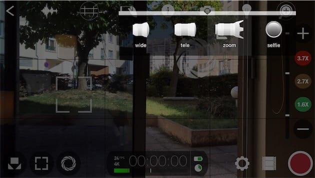 Sélecteur de caméra sur l'iPhone7Plus. Notez aussi, sur la droite de l'écran, le contrôle du zoom. Cliquer pour agrandir