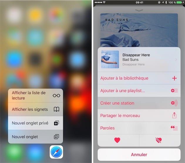 Dans les menus 3D Touch depuis l'écran d'accueil (gauche) et dans certains menus contextuels, vous pouvez glisser le doigt et sentir chaque option grâce au retour haptique. Cliquer pour agrandir
