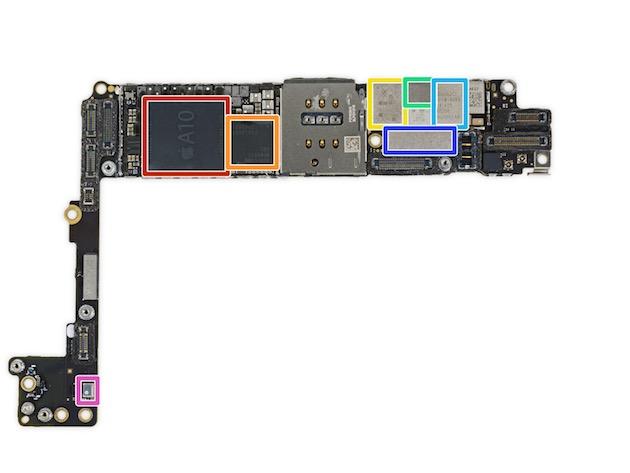 La carte-mère de l'iPhone 7 Plus. Aux côtés du processeur A10, entouré dorange, le modem 4G LTE-A cat. 12 Qualcomm MDM9645M. Image CC iFixit8.