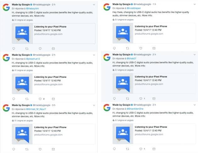 Les CM de Google n'ont pas chômé cette nuit pour répondre à tous ceux qui regrettent la disparition de la prise jack. Cliquer pour agrandir