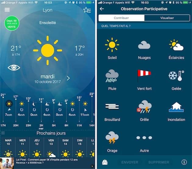 L'œil ajouté sur le premier écran de l'app (gauche) permet d'accéder à ce nouvel écran avec le choix d'un pictogramme pour représenter le temps à votre emplacement (droite). Cliquer pour agrandir