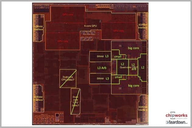 Les différents composants identifiés de l'Apple A10 (analyse Chipworks). Cliquer pour agrandir