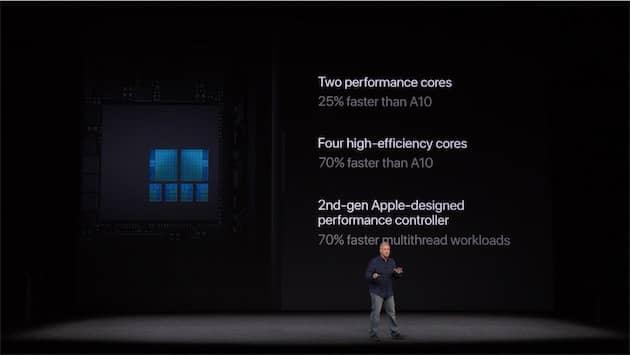 Présentation de la nouvelle puce A11 pendant le keynote de présentation des nouveaux iPhone, en septembre 2017. Cliquer pour agrandir