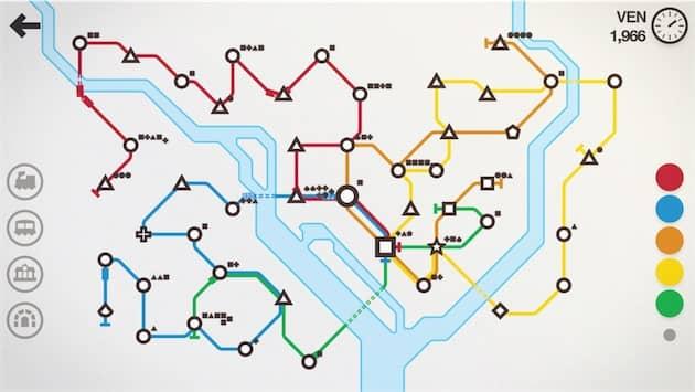 La carte de Stockholm, dernier ajout dans Mini Metro. Cliquer pour agrandir