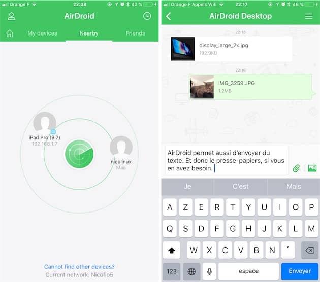 AirDroid sur un iPhone: affichage des appareils à proximité à gauche, fil de discussion à droite. Cliquer pour agrandir