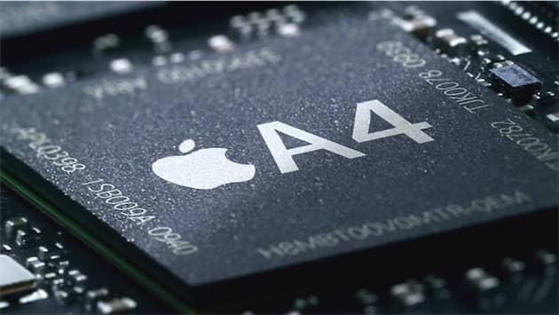 L'Apple A4, le premier SoC conçu en interne par Apple. Cliquer pour agrandir
