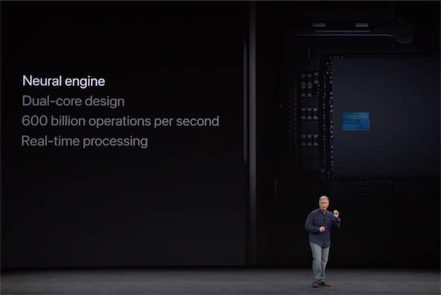 L'Apple A11 intègre un réseau neuronal, exploité notamment pour la reconnaissance faciale sur l'iPhone X. Cliquer pour agrandir