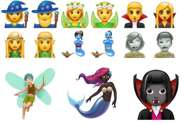 Créatures fantastiques de WhatsApp en haut, celles d'Apple en bas. Cliquer pour agrandir