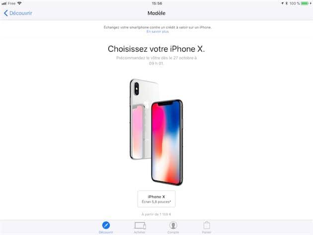 L'app AppleStore sur un iPad. Cliquer pour agrandir