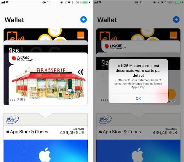 Changement de l'ordre de priorité dans Wallet: la carte Ticket Restaurant était sélectionnée par défaut (gauche), on place la bonne carte (celle de N26) à la place (droite). Cliquer pour agrandir