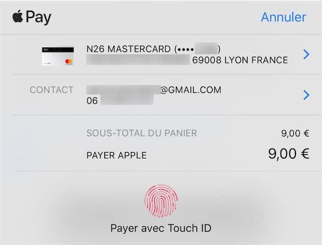 Dans le panneau de confirmation ApplePay, l'adresse postale et les informations de contact ne sont pas utilisées pour la livraison. Cliquer pour agrandir