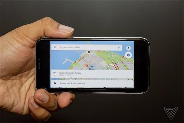 Google Maps en paysage… il y a encore du travail pour certaines apps! (Image The Verge) Cliquer pour agrandir