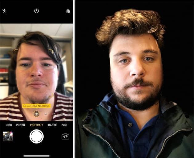 Selfie en mode portrait à gauche. À droite, un éclairage de portrait réalisé avec la caméra avant. Le détourage est aussi grossier, mais ce n'est pas vraiment la faute de l'iPhone X. Cliquer pour agrandir