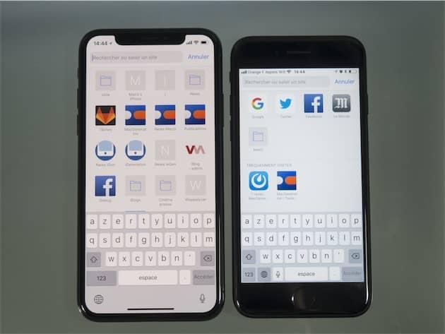 Le clavier de l'iPhone X semble flotter au milieu de l'écran, mais c'est pour une bonne raison. Il est en fait placé au même niveau que sur les iPhone 4,7 pouces et laisse autant de place sous les touches pour que ce soit confortable de taper du texte. Notez au passage les deux icônes en bas, ce qui laisse plus de place au clavier lui-même. Cliquer pour agrandir