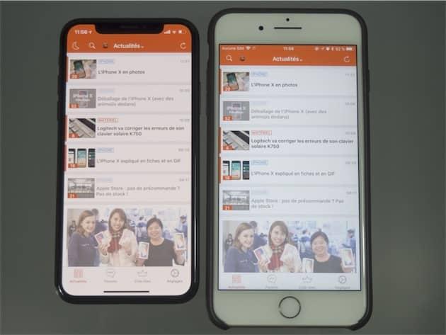 Sur cet exemple, l'iPhone X affiche légèrement plus de contenu vertical que l'iPhone 7 Plus (droite). Cliquer pour agrandir