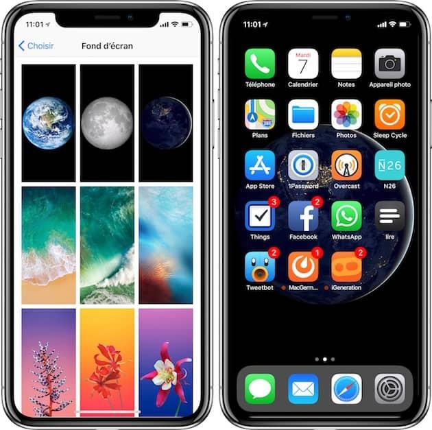 Les fonds d'écran sur fond noir sont très convaincants sur l'iPhoneX, et ils consomment moins de batterie. Voici un exemple avec l'un de ceux proposés par Apple. Cliquer pour agrandir