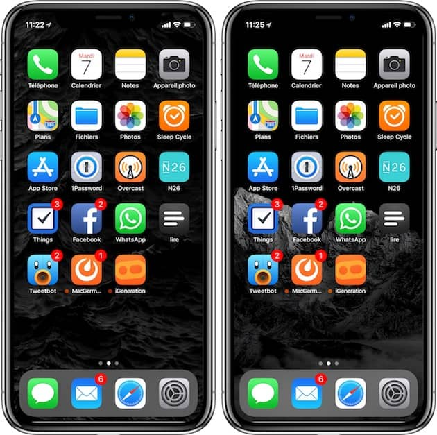 Deux fonds d'écran très noirs pour l'iPhoneX. Cliquer pour agrandir