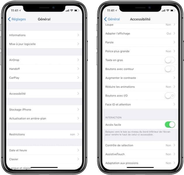 L'accès facile n'est pas actif par défaut sur l'iPhone X, il doit préalablement être activé dans les réglages d'accessibilité. Cliquer pour agrandir