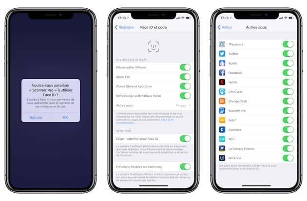 L'iPhoneX demande à son utilisateur une autorisation explicite avant d'utiliser Face ID dans une app (gauche). Une liste est par ailleurs disponible (droite) dans les réglages de FaceID et code (centre). Cliquer pour agrandir