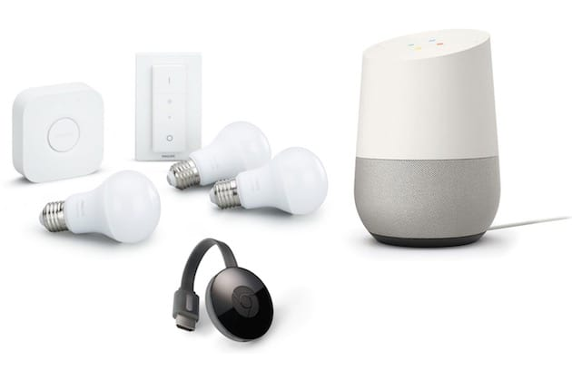 un pack d 39 objets connect s google home chromecast hue. Black Bedroom Furniture Sets. Home Design Ideas