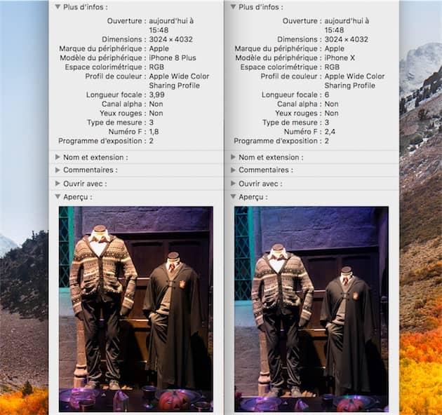 La différence est visible dans les données EXIF: la photo prise avec l'iPhone8Plus utilise une longueur focale de 4mm et son ouverture est de ƒ/1,8, ce qui correspond au grand angle. L'iPhoneX, en revanche, affiche une longueur focale de 6mm et une ouverture de ƒ/2,4, ce qui correspond à son téléobjectif. Cliquer pour agrandir