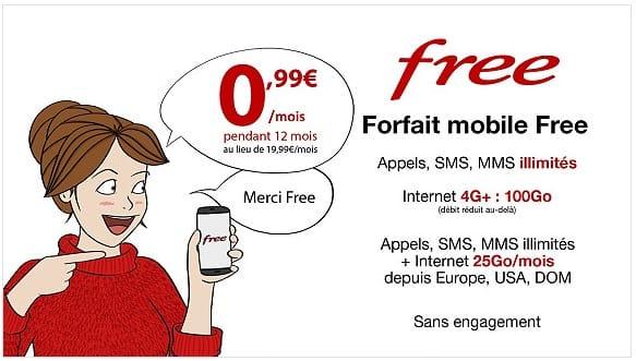 Le forfait 100 Go de Free Mobile à 0,99 € pendant un an