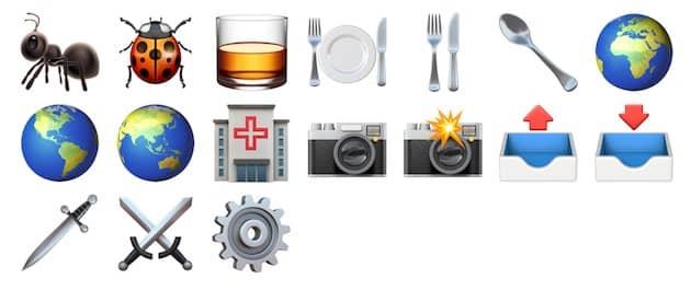 Les emojis modifiés d'iOS11.2. Cliquer pour agrandir