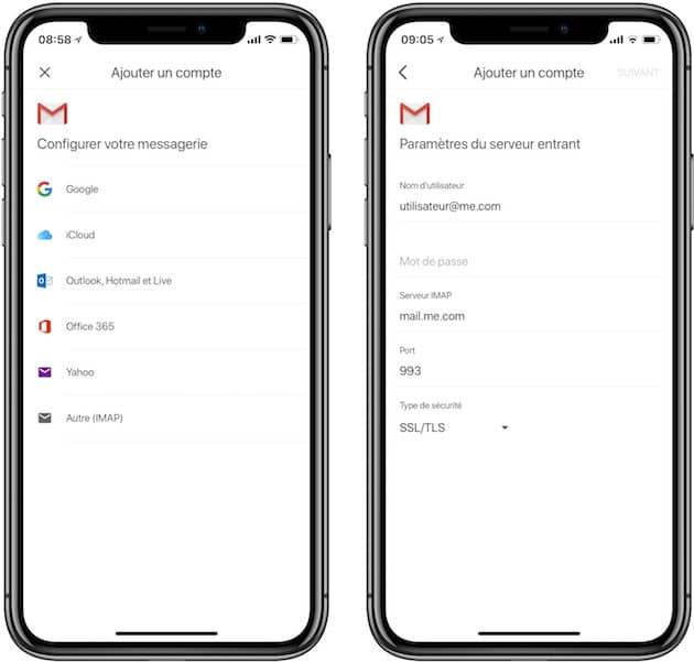Ajout d'un compte mail en IMAP dans l'app Gmail. Cliquer pour agrandir