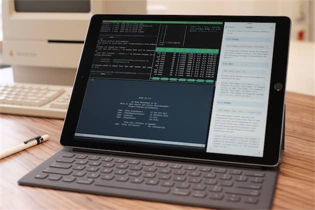 Un iPadPro en mode développement, avec l'essentiel de son écran qui affiche un terminal. Cliquer pour agrandir
