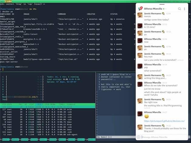 Session de travail avec Slack sur le côté et Blink sur le reste de l'écran. Cliquer pour agrandir