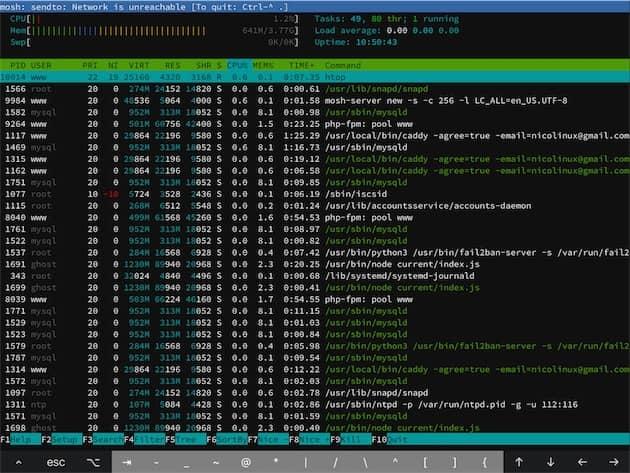 Quand Blink revient au premier plan, la connexion avec le serveur interrompue est souvent rompue. En SSH, il faudrait se connecter à nouveau et perdre son travail en cours. Avec Mosh, la connexion est reprise automatiquement et l'app le signale avec le bandeau bleu, en haut de l'écran. Cliquer pour agrandir