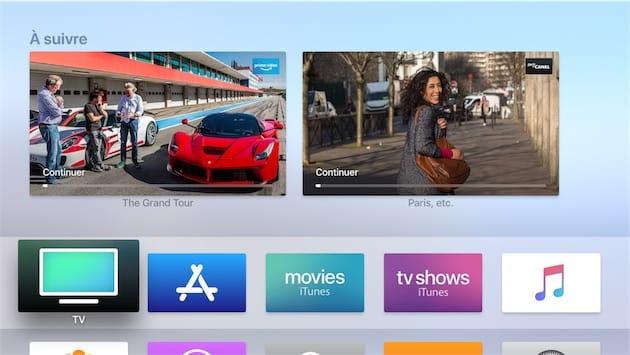 L'écran d'accueil de tvOS.