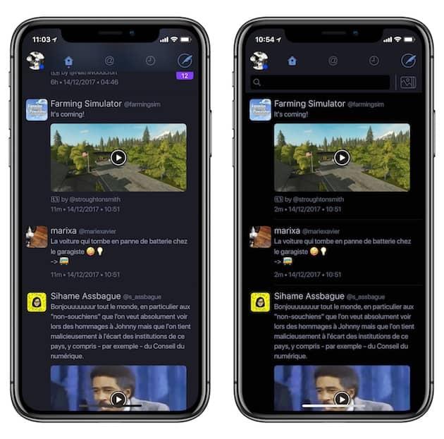 À gauche, le thème sombre proposé jusque-là par l'app; à droite, l'option noire parfaite sur un iPhoneX. Cliquer pour agrandir