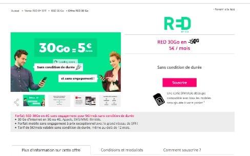 Promo: 30Go chez SFR RED pour 5€ par mois à vie
