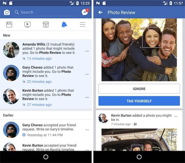Voici à quoi ressemble la fonction: une alerte quand une photo pourrait contenir votre visage et une interface pour indiquer que ce n'est pas vous, ou bien agir en conséquence. Cliquer pour agrandir