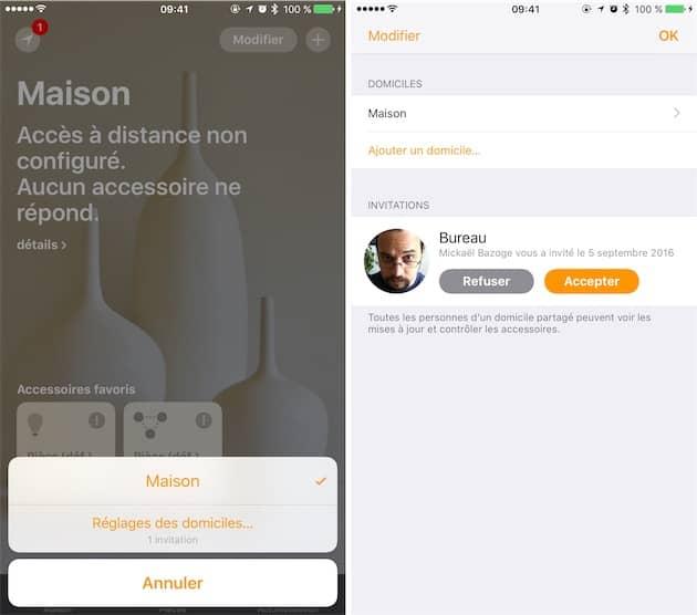 Depuis iOS 10, HomeKit peut être partagé avec d'autres utilisateurs. L'idée étant de permettre à tous les membres d'un foyer d'accéder aux appareils et de les contrôler. Cliquer pour agrandir