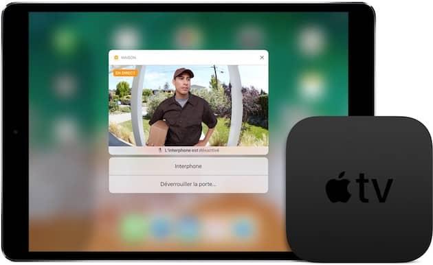 Avec un Apple TV chez vous, vous pouvez accéder aux équipements HomeKit depuis un appareil distant. De quoi, par exemple, ouvrir la porte à distance (image Apple). Cliquer pour agrandir