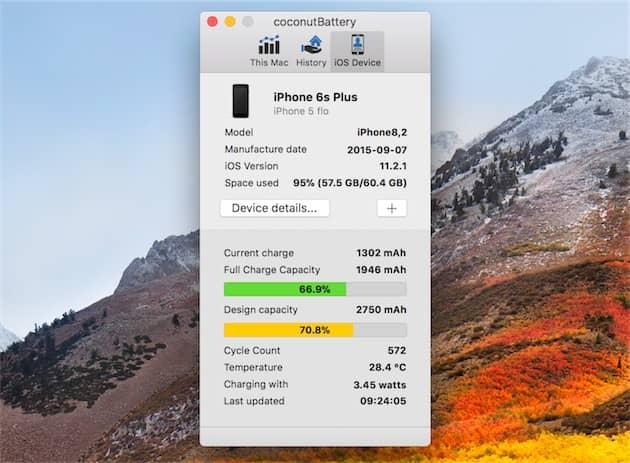 L'utilitaire coconutBattery sur macOS permet de connaître le nombre de cycles de recharge enregistrés par la batterie d'un iPhone. Cliquer pour agrandir