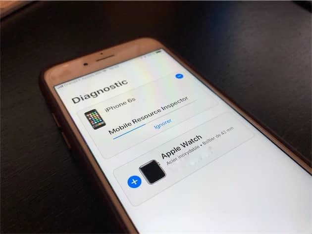 Un iPhone6s pendant un diagnostic initié par Apple. Cliquer pour agrandir