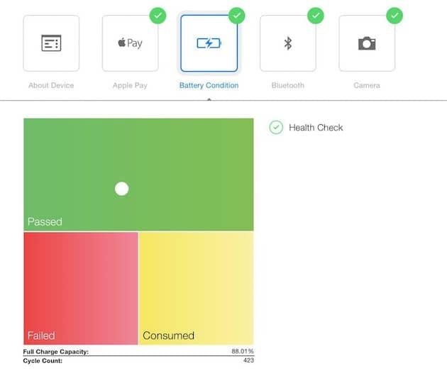 Voici le résultat du diagnostic de batterie effectué en Apple Store: le point blanc indique l'état de la batterie testée et jusque-là, le remplacement n'était proposé que dans les zones jaune et rouge. Désormais, peu importe le résultat, la batterie pourra être remplacée si un client le demande. (image Mashable). Cliquer pour agrandir