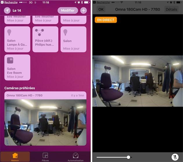 La caméra dans l'application Maison : à gauche le widget «caméras préférées », qui montre comme les notifications une capture statique, à droite le flux en direct