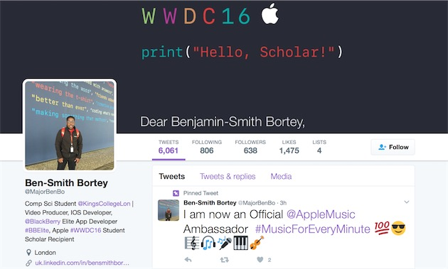 Un des «ambassadeurs» Apple Music, qui a par ailleurs bénéficié de la bourse réservée aux étudiants7 pour participer à la WWDC 2016.