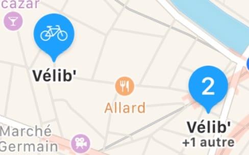 À Paris, Vélib' et Autolib' apparaissent dans Plans